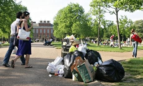 A pile of rubbish in a London park