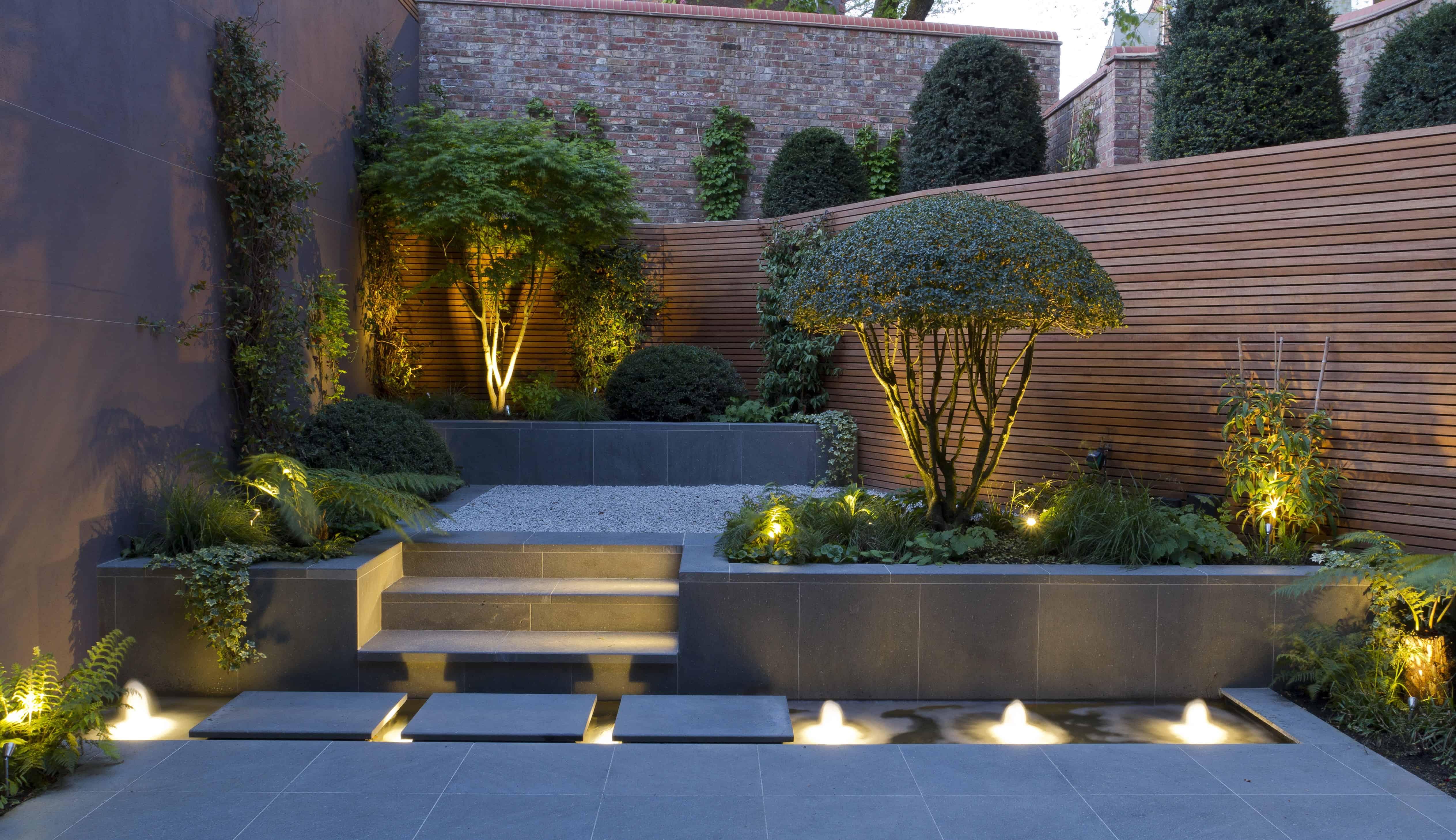 Декоративное освещение ландшафтного дизайна зеленое строител.