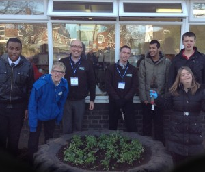 Pupils at Queensbury school have transformed the tyre into a minature garden
