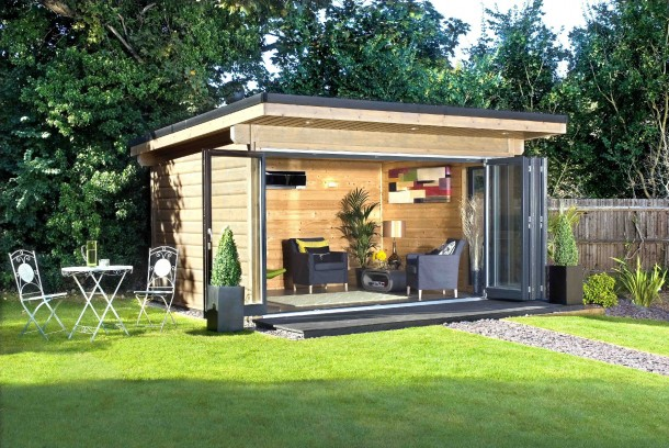 Norwegian log buildings exhibit at grand designs live for Modern garden rooms london