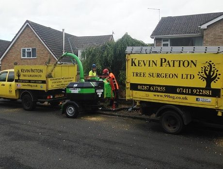 Kevin Patton Tree Surgeon Ltd using their new GreenMech sub 750kg QuadChip 160